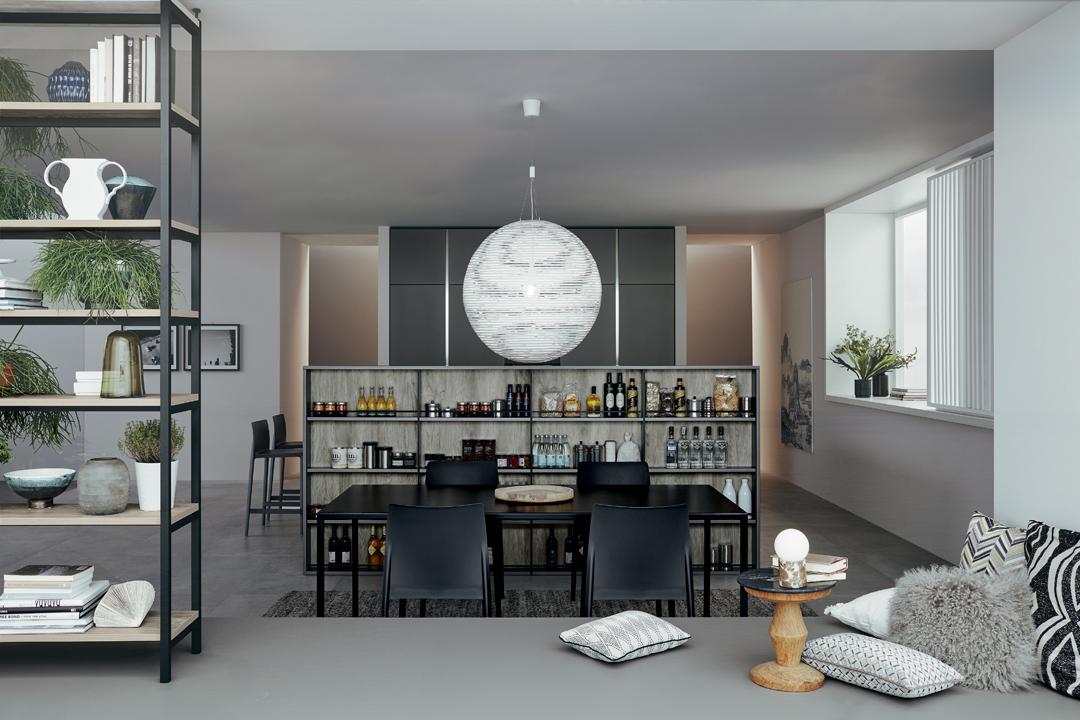 lounge - table et vaisselier en style indutriel