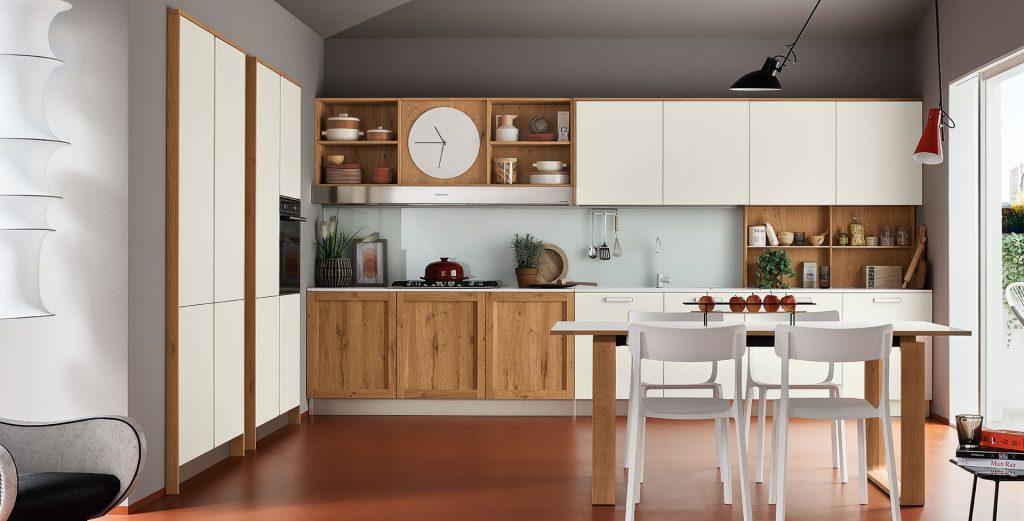 Milano - Cuisine blanche avec finitions en bois d'angle